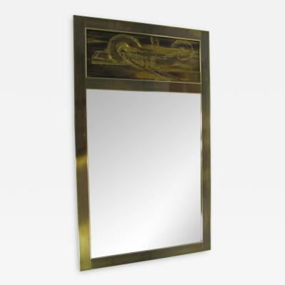 Mastercraft Acid Etched Bernhard Rohne for Mastercraft Mirror Mid Century Modern