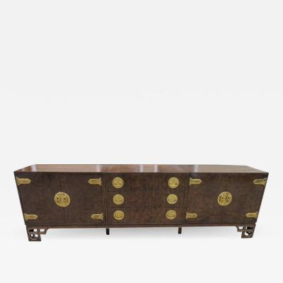 Mastercraft Amazing Burled Amboyna Brass Three Piece Mastercraft Credenza Buffet Chinoiserie