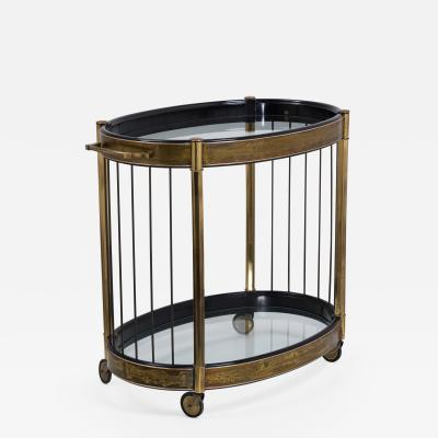 Mastercraft An Acid Etched Two Tiered Oval Trolley by Mastercraft 1970s
