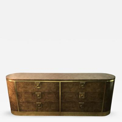 Mastercraft Burlwood and Brass Mastercraft Dresser