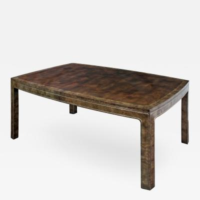 Mastercraft Dining Table in Carpathian Elm with Brass Inlays by Mastercraft