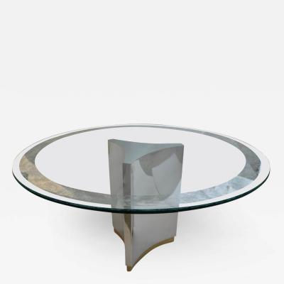 Mastercraft Dining Table in Polished Steel Brass and Etched Glass