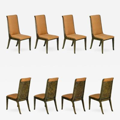 Mastercraft Eight Mastercraft Amboyna Burl and Brass Dining Chairs