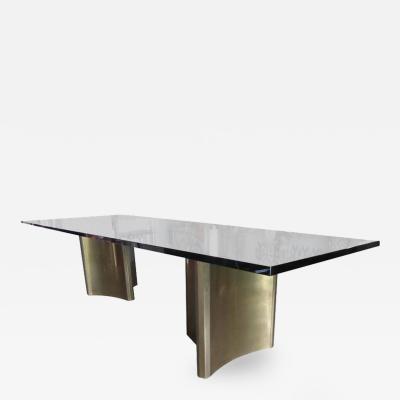 Mastercraft Glass Topped Dining Table with Two Mastercraft Brass Plated Steel Trilobi Bases