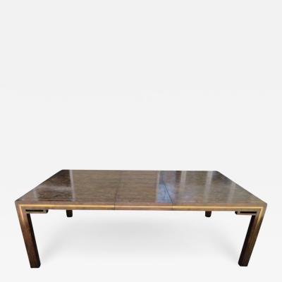 Mastercraft Handsome Mastercraft Amboyna Burl and Brass Parsons Leg Dining Table Midcentury