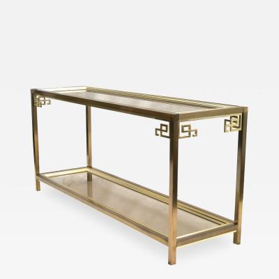 Mastercraft Mastercraft Brass and Glass Console Double Tier Cocktail Hall Table