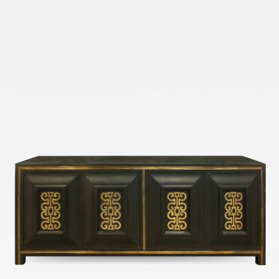 Mastercraft Mastercraft Chic Credenza in Dark Carpathian Elm and With Brass 1960s