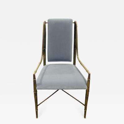 Mastercraft Mastercraft Elegant Chair with Bronze Frame with Bamboo Motif 1970s