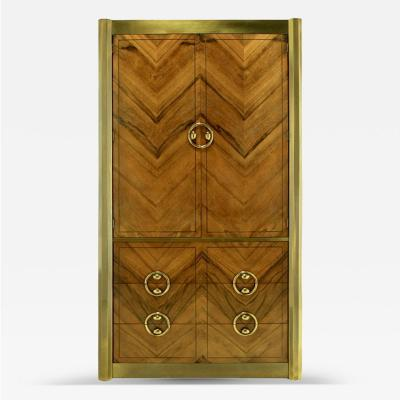 Mastercraft Mastercraft Zebrano Wood and Patinated Brass Tall Wardrobe Cabinet