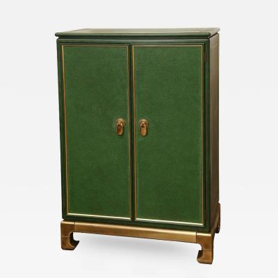 Mastercraft Signed Hollywood Regency Lacquered Brass and Emerald Leather Cabinet