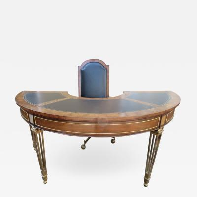 Mastercraft Spectacular Mastercraft Burled Walnut Brass Demi Lune Desk with Matching Chair