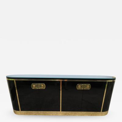 Mastercraft Stunning Mastercraft Black Lacquer and Polished Brass Credenza Midcentury
