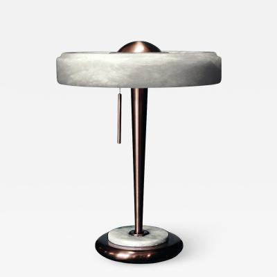 Matlight Milano Bespoke Art Deco Design Italian White Alabaster Bronze Color Round Table Lamp