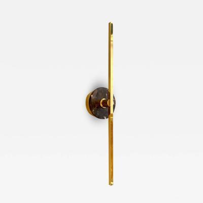 Matlight Milano Bespoke Italian Minimalist Brown Marble Satin Brass Vertical Horizontal Sconce