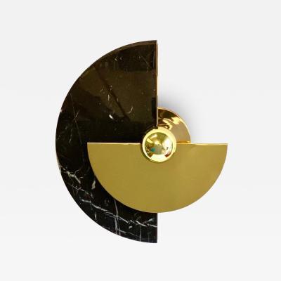 Matlight Milano Bespoke Matlight Art Deco Style Half Moon Rotating Brass Sconce in Black Marble
