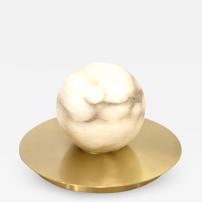 Matlight Milano Bespoke Matlight Italian Alabaster Moon Minimalist Satin Brass Round Table Lamp