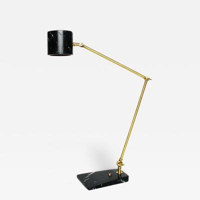 Matlight Milano Custom Italian Mid Century Modern Style Black Marble Brass Adjustable Table Lamp