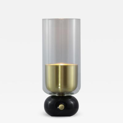 Matlight Milano E Elizarova for Matlight Italian Black Marble Glass and Brass Flute Table Lamp