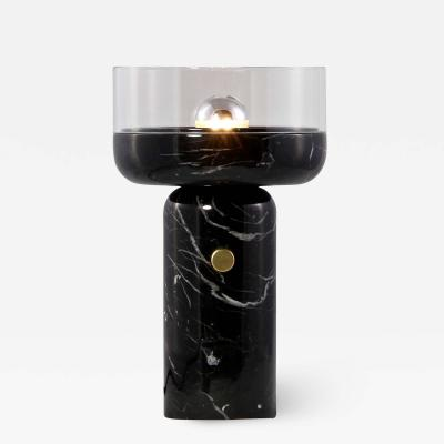 Matlight Milano E Elizarova for Matlight Studio Italian Black Marble and Glass Cup Table Lamp