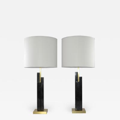Matlight Milano Italian Art Deco Style Pair of Black White Marble Satin Brass Modern Table Lamps