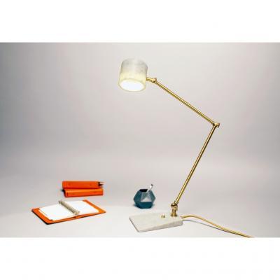 Matlight Milano Italian Mid Century Modern Style White Marble Brass Flamingo Desk Table Lamp