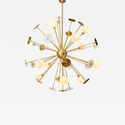 Matlight Milano Modern Italian Alabaster Satin Brass Space Age Style 12 Light Sputnik Chandelier