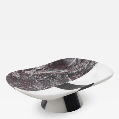Matteo Cibic Orazio Centerpiece in White Black and Red Marbles