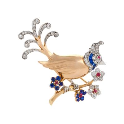 Mauboussin Gold Diamond Ruby and Sapphire Bird Brooch