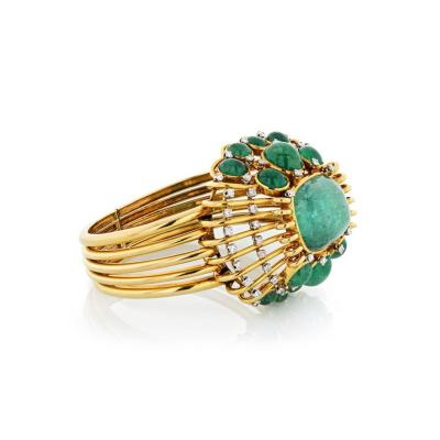 Mauboussin MAUBOUSSIN VINTAGE 18K YELLOW GOLD CABOCHON GREEN EMERALD CUFF BANGLE BRACELET