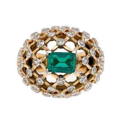 Mauboussin Mauboussin 1960s Gold Emerald and Diamond Bomb Lattice Cocktail Ring
