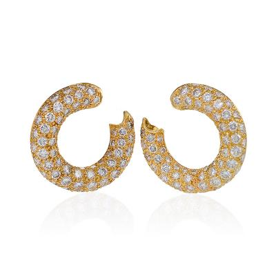 Mauboussin Mauboussin Paris Late 20th Century Diamond and Gold Loop Earrings
