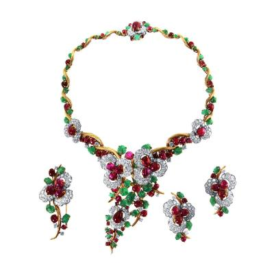 Mauboussin Rare 1960s Mauboussin Ruby Emerald Diamond Gold Platinum Suite