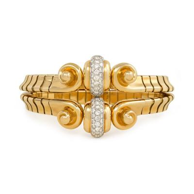 Mauboussin Retro Gold and Diamond Bracelet with Central Scroll Motifs Mauboussin