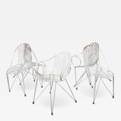 Mauser Werke Set of 5 german iron garden chairs 1950s