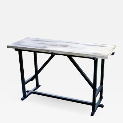 Mawlana Furniture Home Kudra Centre Table With Distressed Top And Enamelled Base