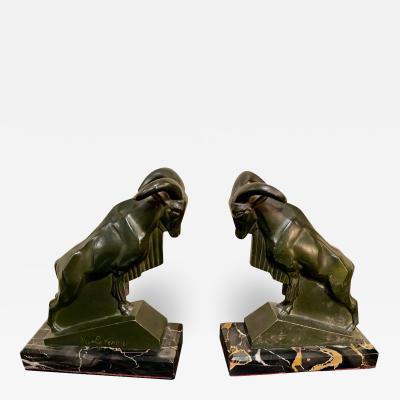Max Le Verrier Max Le Verrier 1930s French Mountain Ram Goat Sculpture Bookends