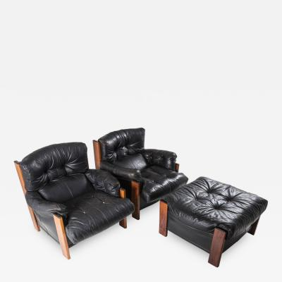 Maxalto Rare Pair of Bergere Lounge Chairs with Ottoman by Scarpa for Maxalto