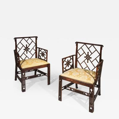 Mayhew Ince Pair of George III Chinoiserie Armchairs to a design by Mayhew Ince