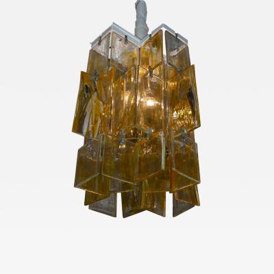 Mazzega Murano 1960s glass chandelier made of assembled plaques Mazzega in Murano