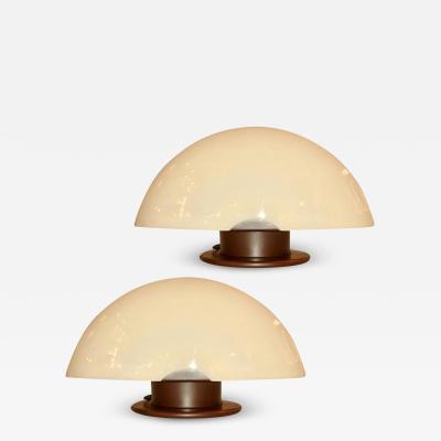 Mazzega Murano 1970s Italian Space Age Design Pair of Ivory Murano Glass Copper Lacquer Lamps