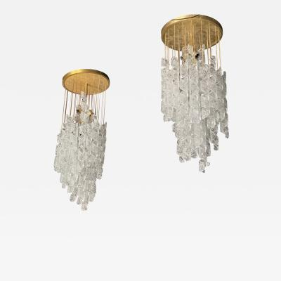 Mazzega Murano A Pair Italian Modern Handblown Glass and Brass Chandeliers Mazzega
