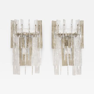 Mazzega Murano A pair of mid century large Murano wall sconces by Mazzega