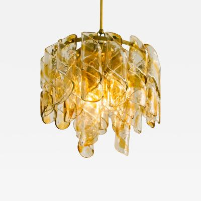 Mazzega Murano Brass Cear and Amber Spiral Glass Torciglione Chandelier by Mazzega 1970