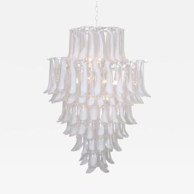 Mazzega Murano Extra Large Oversized Murano Glass Tulipani or Feather Chandelier by Mazzega