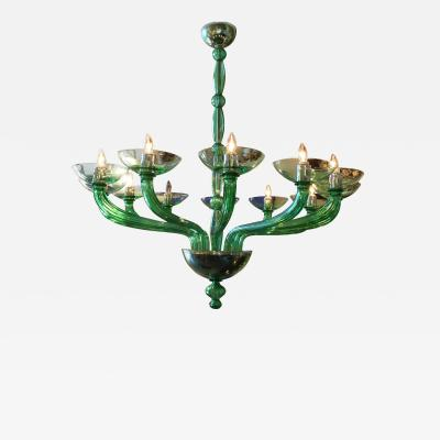 Mazzega Murano Green Chandelier by Mazzega