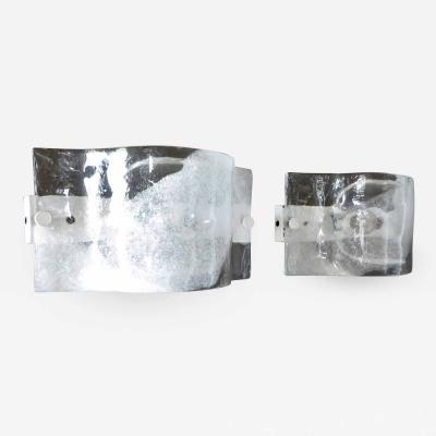 Mazzega Murano Italian Mazzega Wall Sonces of Cast Murano Glass In Clear and White Glass
