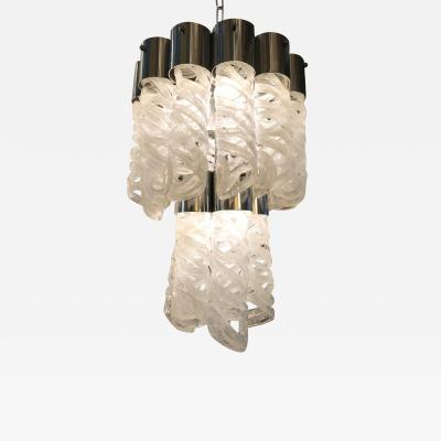 Mazzega Murano Italian chandelier w white Murano glasses handmade spiral shape 1970 s