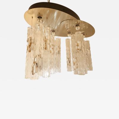Mazzega Murano Large flush mount light w Murano glass by AV Mazzega Mid Century Modern 1970s