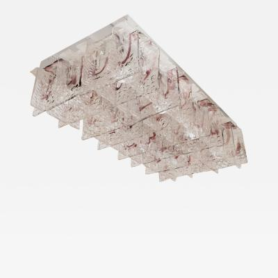 Mazzega Murano MONUMENTAL MURANO GLASS GRID FORM CEILING FIXTURE by Mazzega