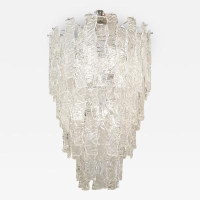Mazzega Murano Massive and Dramatic Mazzega Glass Chandelier Pair Available